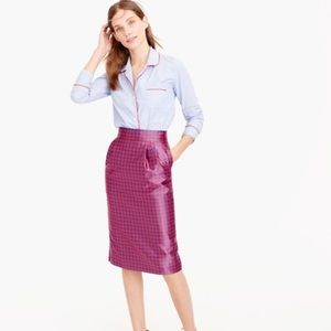 J. Crew red blue houndstooth pencil skirt